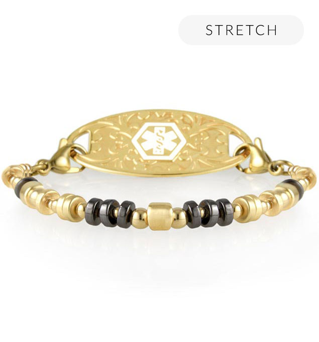 Medical alert bracelet with gold and black beaded accents and decorative gold medical alert tag