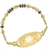 Gold beaded medical ID bracelet with black beaded accents and gold medical ID tag