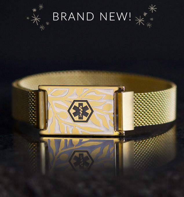 Medical alert bracelet with gold mesh band and floral imprinted medical ID tag