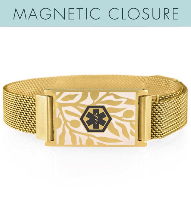 Gold tone medical alert bracelet with mesh band and floral pattern