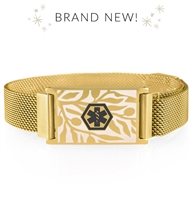Medical alert bracelet with gold mesh band and floral imprinted medical ID tag