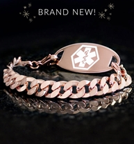 Rose gold tone faceted curb chain medical alert bracelet with gold tone medical ID tag