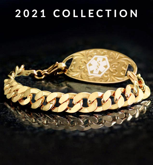 Yellow gold tone faceted curb chain medical alert bracelet with gold tone medical ID tag