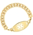 Gold tone faceted curb chain interchangeable medical alert bracelet with gold tone medical alert tag