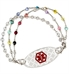 Silver tone medical alert bracelet with decorative medical ID tag and colorful beaded accents
