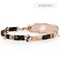 Side view of stretch medical ID bracelet with rose and black beads