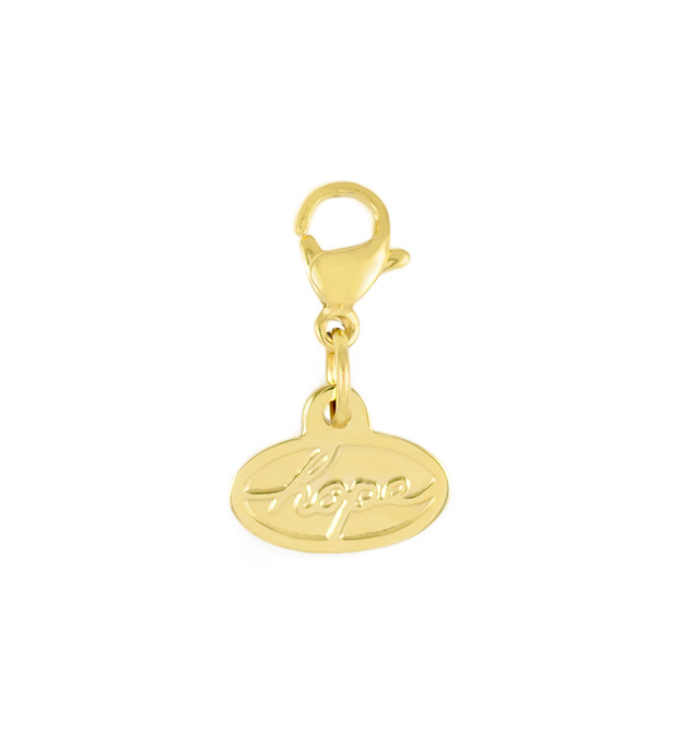 Gold tone lobster clasp and oval shaped charm with the word HOPE in script lettering.