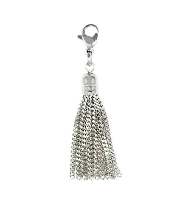 Bracelet charm with sterling silver tassel chains and lobster clasp