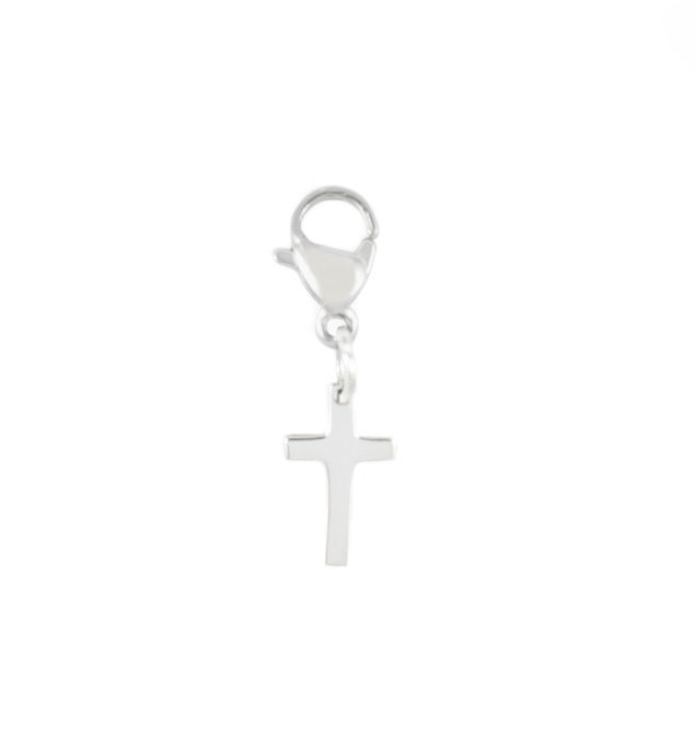 Charm for bracelet with sterling silver cross and lobster clasp