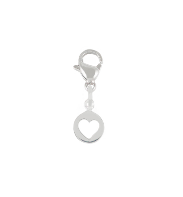 The Sterling Silver Heart Cutout Charm is a heart cutout inside a small circle with a lobster clasp attached to the top