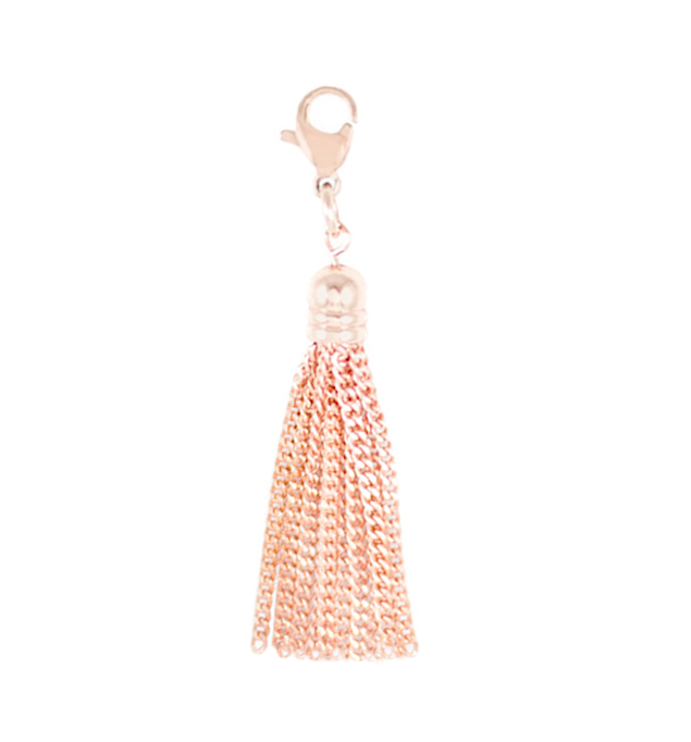 "The Rose Tone Sparkle Tassel is a 1/2"" wide by 2"" long tassel on lobster clasp to add motion to any LH bracelet or necklace"