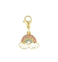 Sparkling Rainbow Charm. A 4k gold-dipped charm with pave-set pink, blue, yellow cubic zirconia crystals. Rainbow and clouds