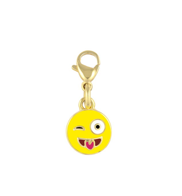 The 14k gold-dipped Winking Emoji Charm is a yellow face with one closed eye and a red tongue charm with lobster clasp