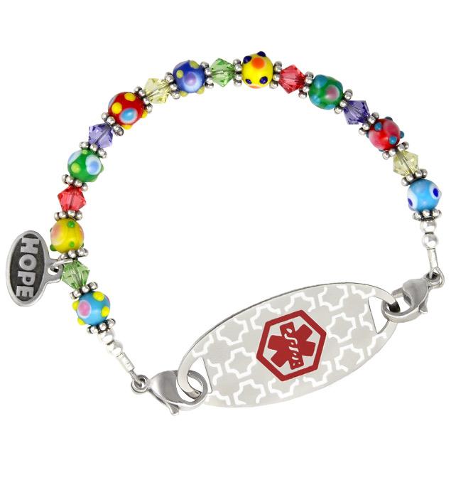 Small Fun Glass Medical ID Bracelet