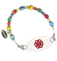 Interchanbeable bracelet strand made of Multi-colored Swarovski crystals, colorful rainbow beads, and sterling silver Bali beads attached to silhouette ID tag shown on white background