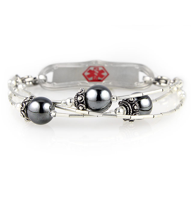 Liquid Silver With Hematite Medical ID Bracelet