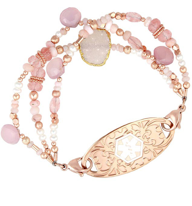 Harlow Medical ID Bracelet with Rose Gold Tone Gardenia Medical ID Tag