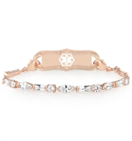 The rose gold tone Symphony Medical ID Bracelet has 3 shapes cubic zirconia and lobster clasps, with the La Petite Med ID Tag