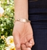 Brenna medical bracelet attached to rose gold gardenia medical ID tag
