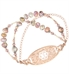 Peruvian opals, natural stones and Rose gold beaded interchangeable medical bracelet attached to medical ID tag