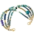 Green opals, blue jade, and gold nugget beads with varying blue and green accent crystals interchangeable ID bracelet