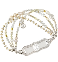 Silver, gold and pearl beaded medical ID bracelet with medical ID tag