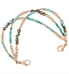 Multi strand bracelet: Turquoise, aqua, and seafoam crystals with Rose gold filled and dipped accents shown on white background