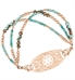 Multi strand bracelet: Turquoise, aqua, and seafoam crystals with Rose gold filled and dipped accents attached to rose gold gardenia medical ID tag shown on white background