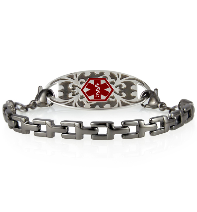 Gunmetal t-link medical ID bracelet with Gardenia medical ID tag and red caduceus symbol