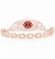Interchangeable rose gold square link bracelet and rose gold floral patterned ID tag with red caduceus symbol.