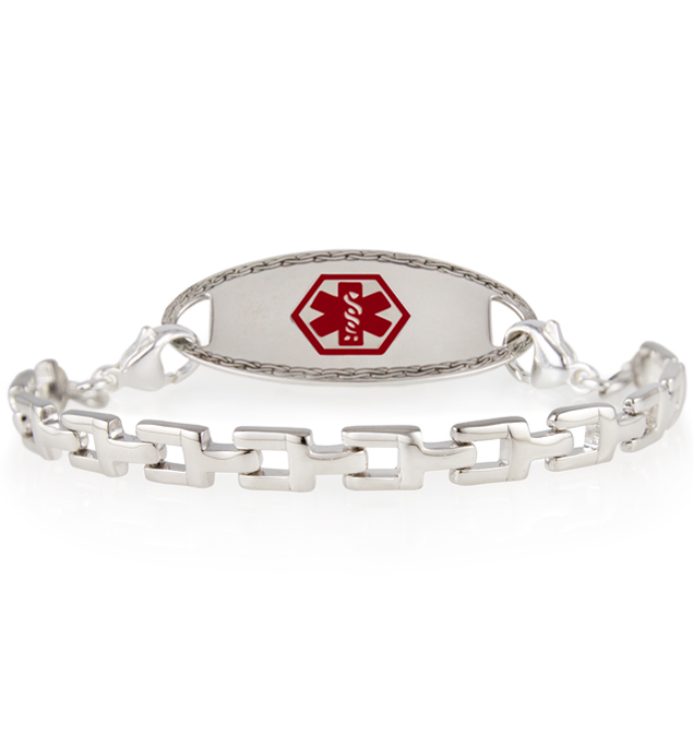 Silver tone t-link medical ID bracelet with medical ID tag