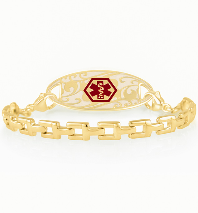 Gold tone t-link medical ID bracelet with medical ID tag showing red medical caduceus symbol