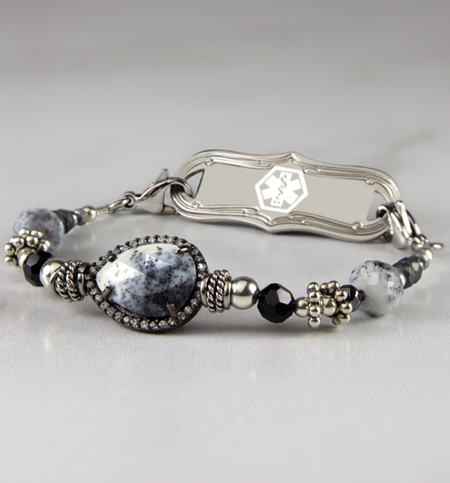 Medical alert bracelet with black and silver beads and druzy centerpiece