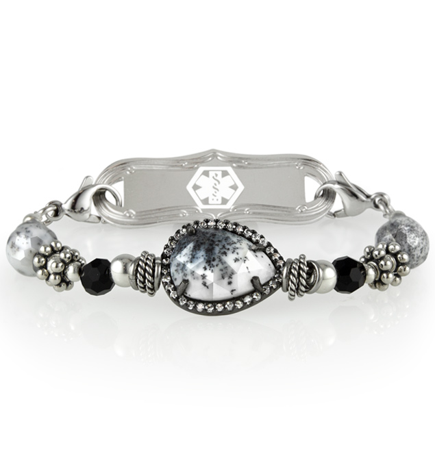 Black and white opal centerpiece on beaded medical alert bracelet with silver accents