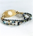Gold beaded medical alert bracelet with blue and black crystals and beads