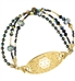 Medical alert bracelet with gold medical ID tag with bead and crystal accents