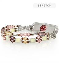 Side view of beaded medical ID bracelet with pink, brown and earth tone beads