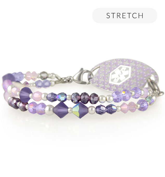 Purple crystal beaded medical alert bracelet with silver accents and medical ID tag