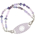 Medical ID bracelet with purple and lavender beaded accents and decorative medical alert tag