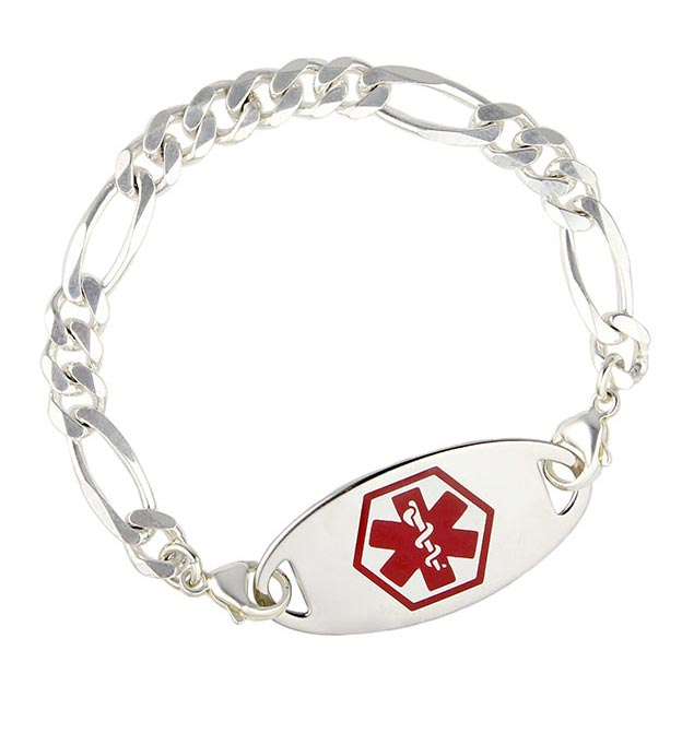 Figaro Sterling Silver Chain Medical ID Bracelet