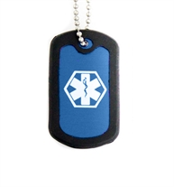 Blue Aluminum Medical ID Dog Tag Necklace