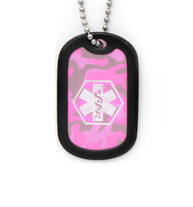 Pink Camouflage Dog Tag Medical ID Necklace