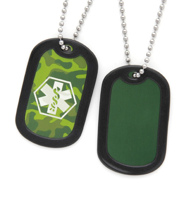 Green Camouflage Dog Tag Medical ID Necklace