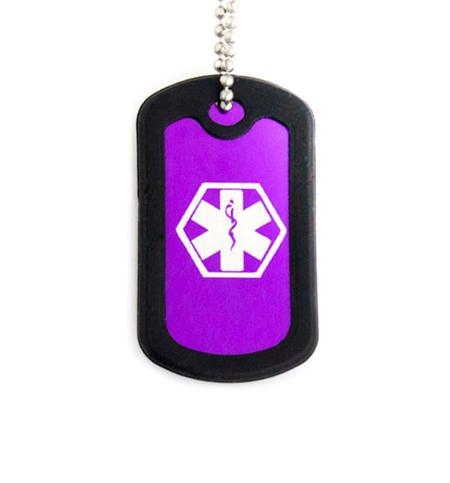 Purple Dog Tag Medical ID Necklace