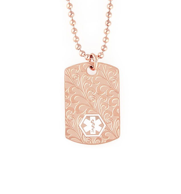 Rose Gold Tone Filigree Dog Tag Necklace