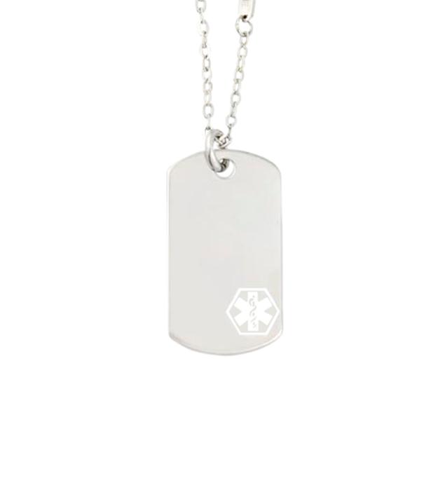Uptown Mini White Caduceus Medical ID Dog Tag
