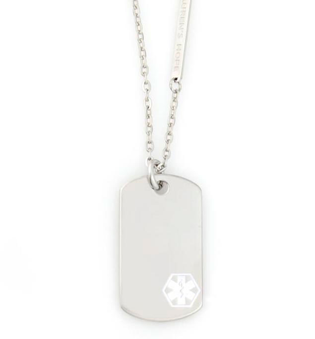 Uptown Mini White Caduceus Medical ID Dog Tag