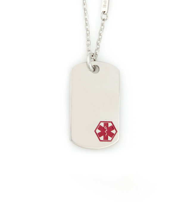 Uptown Mini Red Caduceus Medical ID Dog Tag