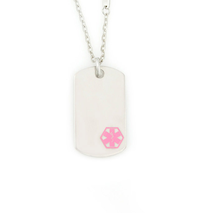 Uptown Mini Pink Caduceus Medical ID Dog Tag
