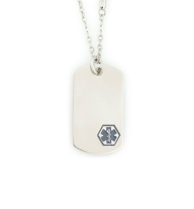 Uptown Mini Charcoal Caduceus Medical ID Dog Tag